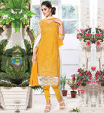 SALWAR KAMEEZ DESIGNER COLLECTION AT CHEAP RATES STYLISH YELLOW STRAIGHT CUT DRESS WITH CONTRAST NET PATCH ON HEMLINE AND SLEEVES