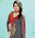 GOOD-LOOKING GREY PARTY WEAR DRESS WITH RED DUPATTA