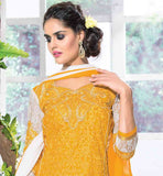 STYLISH YELLOW STRAIGHT CUT DRESS WITH CONTRAST NET PATCH ON HEMLINE AND SLEEVES THIS ELEGANT EMBROIDERED SUIT COMES WITH COTTON SALWAR AND SHADED NAZNEEN ODHNI