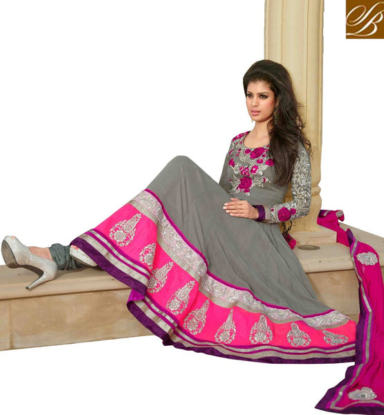 GORGEOUS GREY PURE GEORGETTE ANARKALI SALWAR KAMEEZ WITH DUPATTA