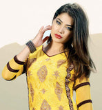 NEW FASHION YELLOW HEAVY GEORGETTE DRESS WITH BLACK ODHNI