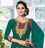 TRENDY AND COMFORTABLE CAMBRIC COTTON SALWAR SUIT WITH DUPATTA  GREEN TOP WITH CONTRAST THREAD WORK ON NECKLINE AND SLEEVES AND BOTTOM OF KAMEEZ