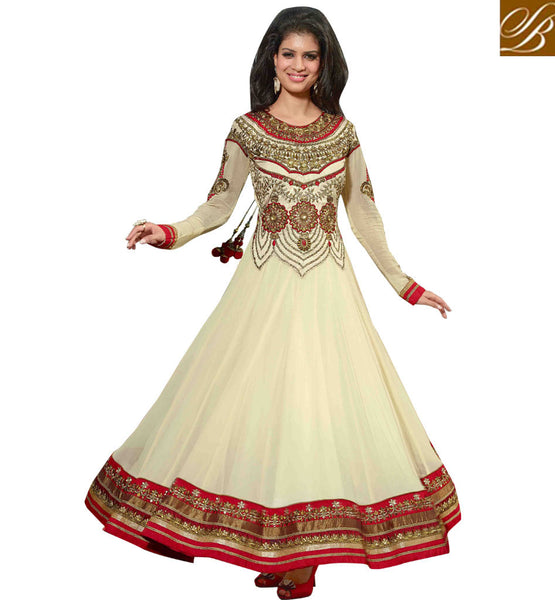 CREAM COLOR HANDWORK PURE GEORGETTE ANARKALI SALWAR SUIT WITH DUPATTA ANEIS6012
