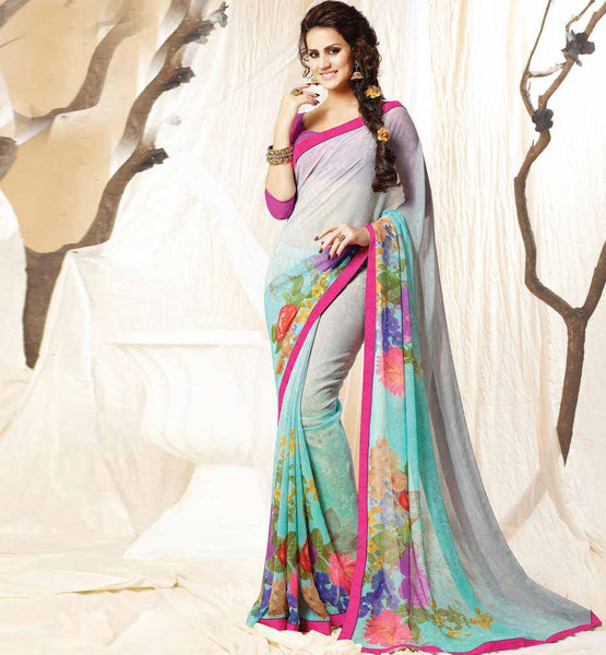 FLORAL PRINT DESIGNER CASUAL WEAR GEORGETTE SAREE ART SILK BLOUSE