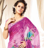 PLEASING PINK PRINTED GEORGETTE SARI