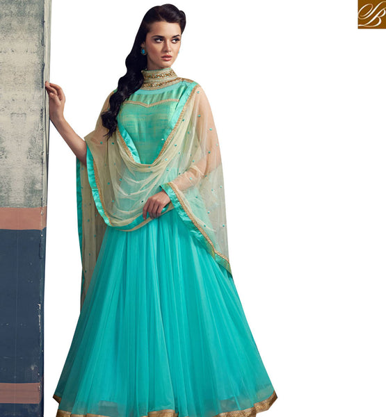 STYLISH BAZAAR BEAUTIFUL RAMA GEORGETTE NET ANARKALI SUITE WITH EMBROIDERED NECK ABSHE6014