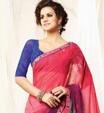 MODERN STYLE GEORGETTE PRINTED SARI WITH CONTRAST BLOUSE