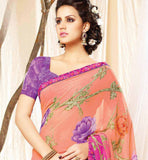 STUNNING PINK GEORGETTE SARI PURPLE BLOUSE COMBINATION