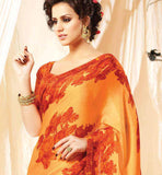 STUNNING ORANGE SATIN SARI WITH MATCHING BLOUSE PIECE