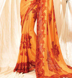 OUTSTANDING ORANGE print work designer Indian Sari