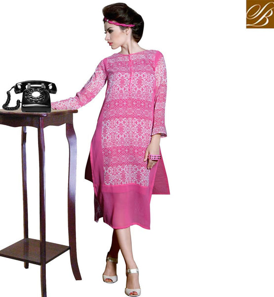 STYLISH BAZAAR ENTICING PINK LATEST DESIGNER KURTI FOR PARTIES RTBLM601