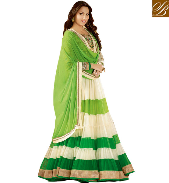 LARA DUTTA DESIGNER CREAM & GREEN ANARKALI WITH CHIFFON DUPATTA