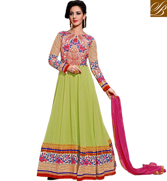 PARTY WEAR ANARKALI SUITS ONLINE SHOPPING  FLOOR TOUCH STYLE LIRIL GREEN ANARKALI DRESS WITH CHIFFON DUPATTA