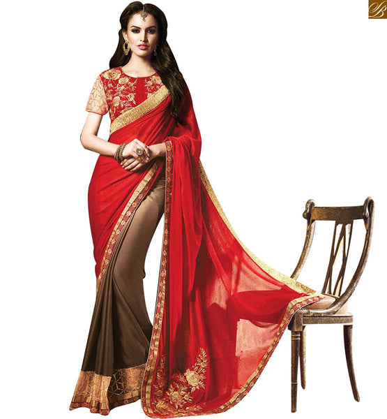 STYLISH BAZAAR CHARMING RED DESIGNER SARI AND BLOUSE RTMYS 6020