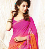 BRILLIANT PINK & ORANGE OFFICE WEAR SARI