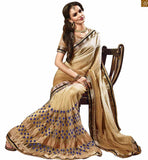 FROM THE HOUSE  OF STYLISH BAZAAR APPEALING DESIGNER BEIGE GEORGETTE SAREE RTMYS6021