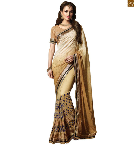 FROM STYLISH BAZAAR APPEALING DESIGNER BEIGE GEORGETTE SAREE RTMYS6021