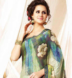 GREEN GEORGETTE OFFICE WEAR SARI WITH ART SILK BLOUSE