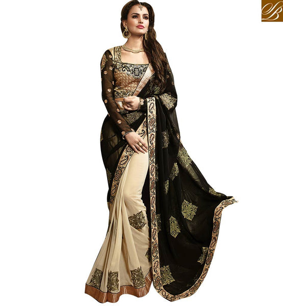 STYLISH BAZAAR ATTRACTIVE PARTY WEAR CREAM DESIGNER SARI RTMYS6022