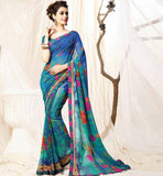 REASONABLY PRICED NEW IMAGE STUNNING PRINT CASUAL SAREE BLOUSE COMBO
