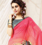 VERY BEAUTIFUL PINK & CREAM SARI WITH STUNNING GREY CHOLI
