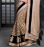 Beautiful Beige shade satin chiffon material designer saree with  black dupion and net blouse piece stylish bazaar