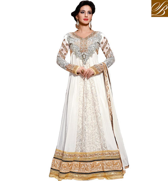 ANARKALI SUIT ONLINE SHOPPING PAY ON DELIVERY  OFF-WHITE COLOR GEORGETTE AND BRASSO RAJWADI ANARKALI WITH SALWAR AND CHIFFON DUPATTA