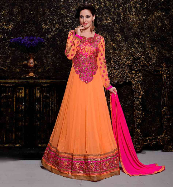 LATEST ANARKALI SUITS ONLINE SHOPPING INDIA MESMERIZING ORANGE GEORGETTE ANARKALI DRESS WITH MATCHING SALWAR AND PINK CHIFFON DUPATTA