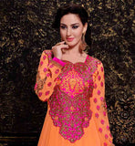 MESMERIZING ORANGE GEORGETTE ANARKALI DRESS WITH MATCHING SALWAR AND PINK CHIFFON UPATTA  LATEST RAJWADI DESIGN IN AWESOME ORANGE WITH GOLDEN HEAVY EMBROIDERY WORK ON NECK AND SLEEVES. THIS SUIT COMES WITH MATCHING BOTTOM DESIGNER PINK DUPATTA