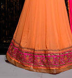 LATEST RAJWADI DESIGN IN AWESOME ORANGE WITH GOLDEN HEAVY EMBROIDERY WORK ON NECK AND SLEEVES. THIS SUIT COMES WITH MATCHING BOTTOM DESIGNER PINK DUPATTA LATEST ANARKALI SUITS ONLINE SHOPPING INDIA VDTWI603