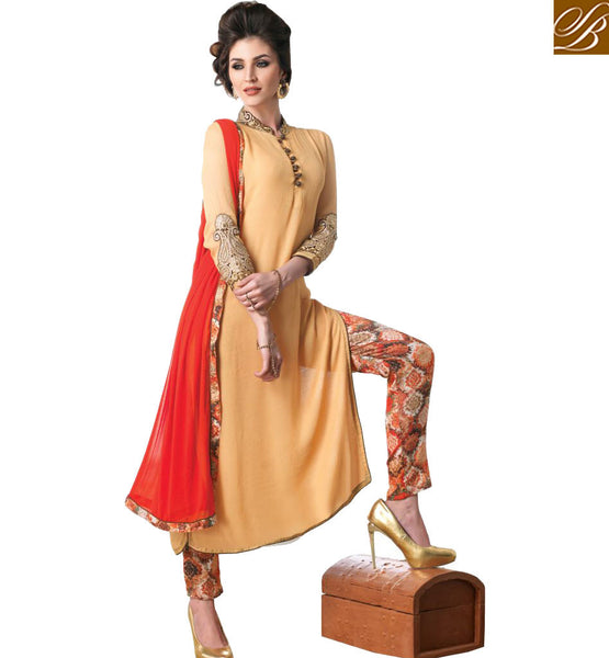 STYLISH BAZAAR INTRODUCES DAZZLING PEACH UNIQUE STYLE SALWAAR KAMEEZ KMSH6030