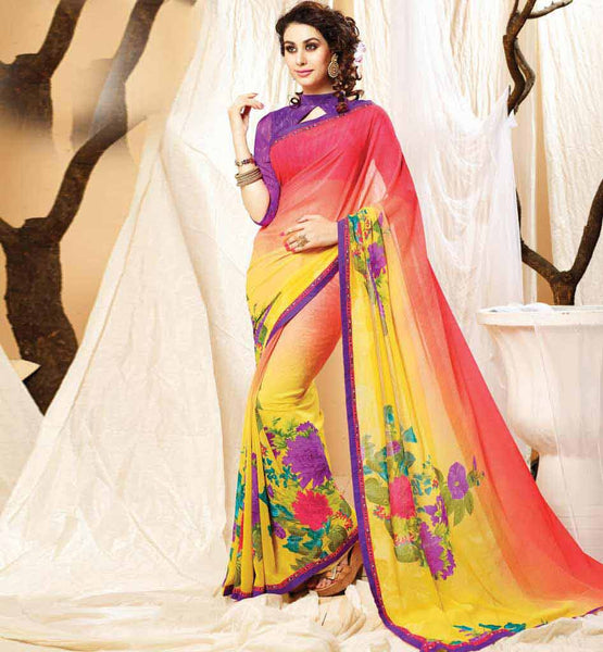 PURCHASE MODERN STYLE BRANDED PRINTED DESIGNER SARIS AT FAIR PRICE