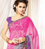 MESMERIZING GEORGETTE SAREE WITH PURPLE CHOLI CLOTH