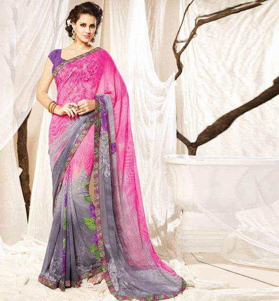 ELEGANT GEORGETTE PRINTED SAREE STYLISH ART SILK CHOLI FABRIC