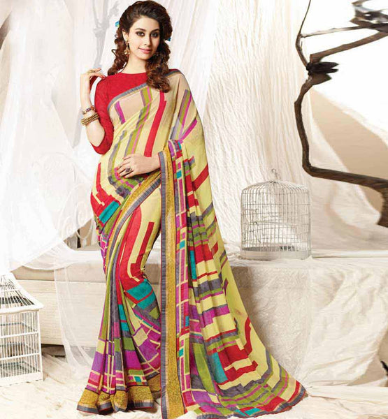 COMPETITIVELY PRICED MODERN FASHION ABSTRACT PRINTED SAREE BLOUSE