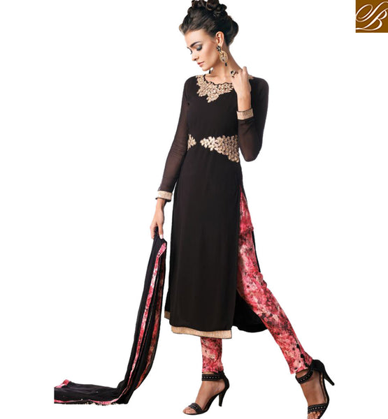 BROUGHT TO YOU BY STYLISH BAZAAR GOOD-LOOKING BLACK DESIGNER SALWAAR SUIT FOR PARTIES KMSH6037