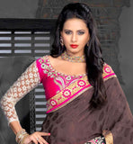 pink Coffee designer sari with eye-catching embroidered blouse piece stylish bazaar