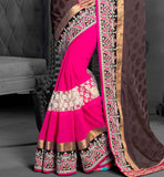 Self designing on the pallu with rich ethnic embroidered broad border  and lace work stylish bazaar