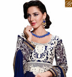 AWESOME NAVY BLUE GEORGETTE ANARKALI WITH MATCHING SALWAR AND CHIFFON DUPATTA NEW STYLE IN ANARKALI WITH RAJWADI COLLECTION, THIS SUIT IN HEAVY EMBROIDERY WORK AND ZARI BORDER WHICH IS PERFECT TO EVENT WEAR