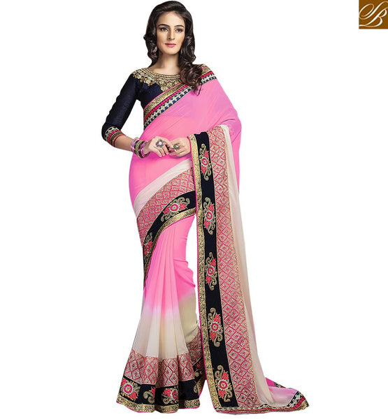 STYLISH BAZAAR CAPTIVATING FLOWERY DESIGN EMBROIDERED SARI AND BLOUSE RTCRM6049