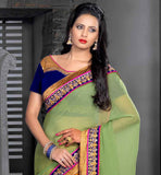 Mustard & Green combination new design party wear pure georgette saree stylish bazaar