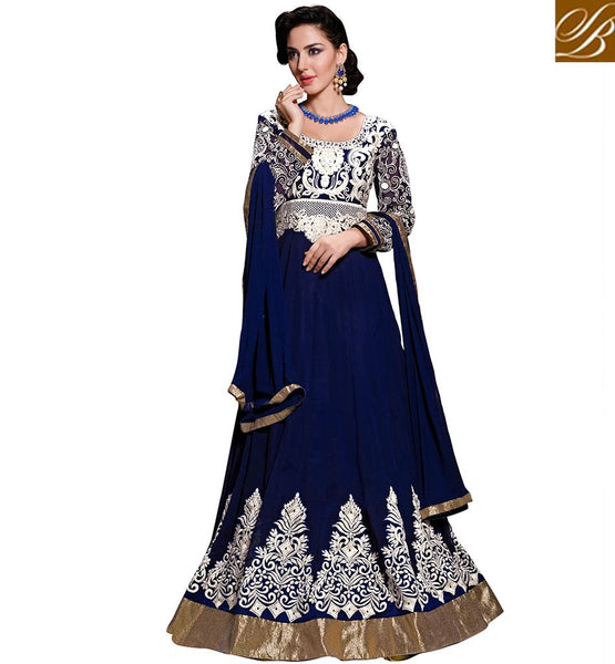 ONLINE SHOPPING DESIGNER ANARKALI SUITS WITH PRICE  AWESOME NAVY BLUE GEORGETTE ANARKALI WITH MATCHING SALWAR AND CHIFFON DUPATTA
