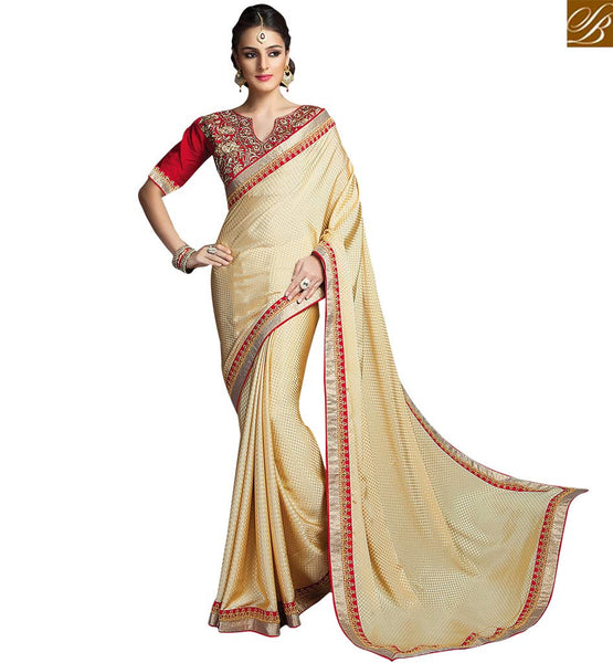 BROUGHT TO YOU BY STYLISH BAZAAR ANGELIC CREAM FLORAL DESIGNED EMBROIDERED SARI RTCRM6050