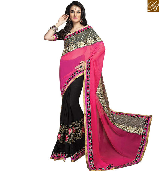 ROYAL DESIGNER SAREE AND BLOUSE RTCRM6051 BLACK & PINK