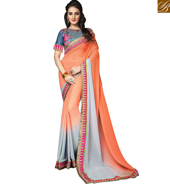 A STYLISH BAZAAR PRESENTATION ADORABLE HEAVILY EMBROIDERED OCCASIONAL SARI RTCRM6052