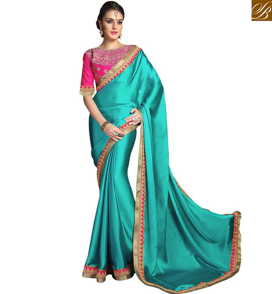 FROM THE HOUSE OF STYLISH BAZAAR ATTRACTIVE DESIGNER BLUE EMBROIDERED SARI AND BLOUSE RTCRM6056