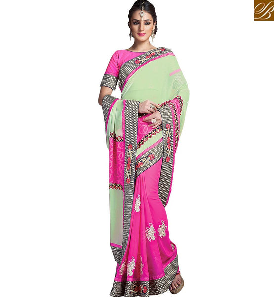 STYLISH BAZAAR COLORFUL FLORAL DESIGN EMBROIDERED GEORGETTE SARI RTCRM6058