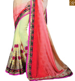 DESIGNER SAREE BLOUSE FOR SPECIAL CEREMONIES RTCRM6059  CREAM , PINK & YELLOW