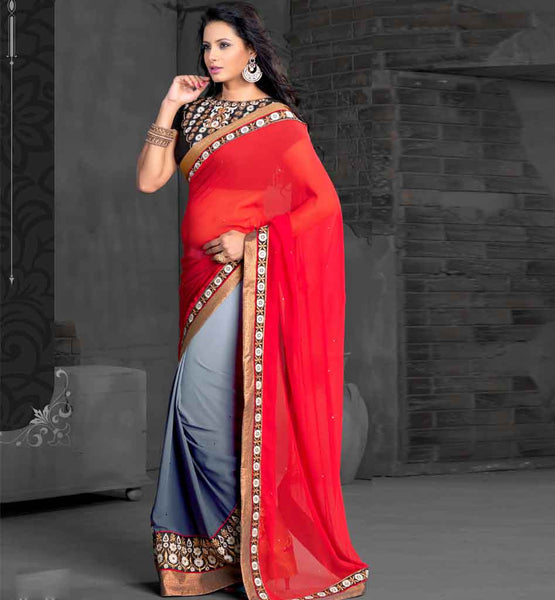 PURE GEORGETTE RED & GREY PARTY WEAR SARI WITH BLACK DUPION BLOUSE stylish bazaar