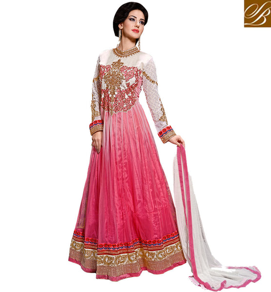 DESIGNER ANARKALI ONLINE SHOPPING WITH DUPATTA  STUNNING SHADED DUSTY PINK AND OFF-WHITE NET DRESS WITH SANTOON SALWAR AND DUPATTA